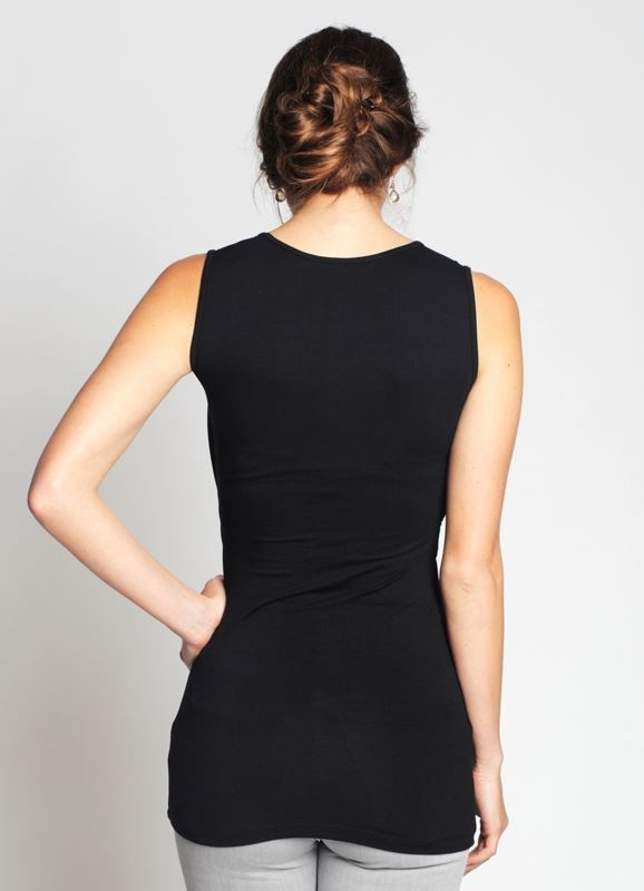 Black nursing top draped across the chest in organic bamboo fibres - seen from behind