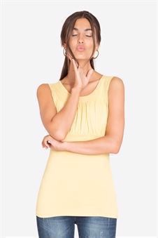 Yellow nursing top with pleats at the chest in bamboo - front view