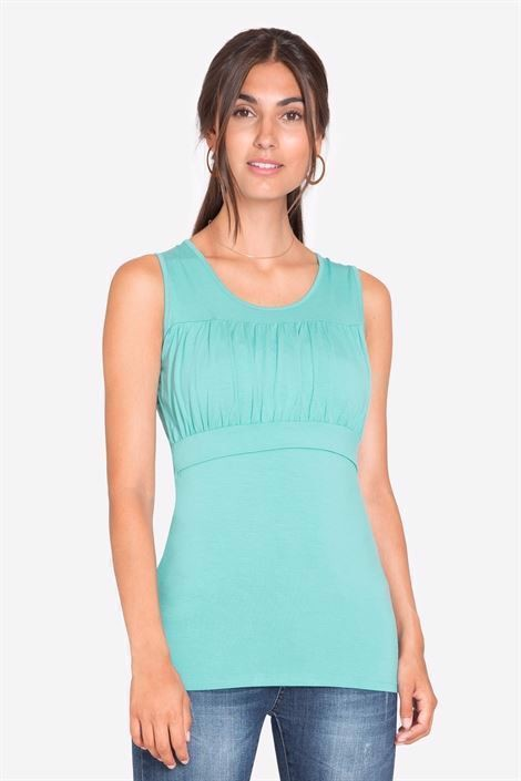 Turquoise green bamboo jersey nursing top - front