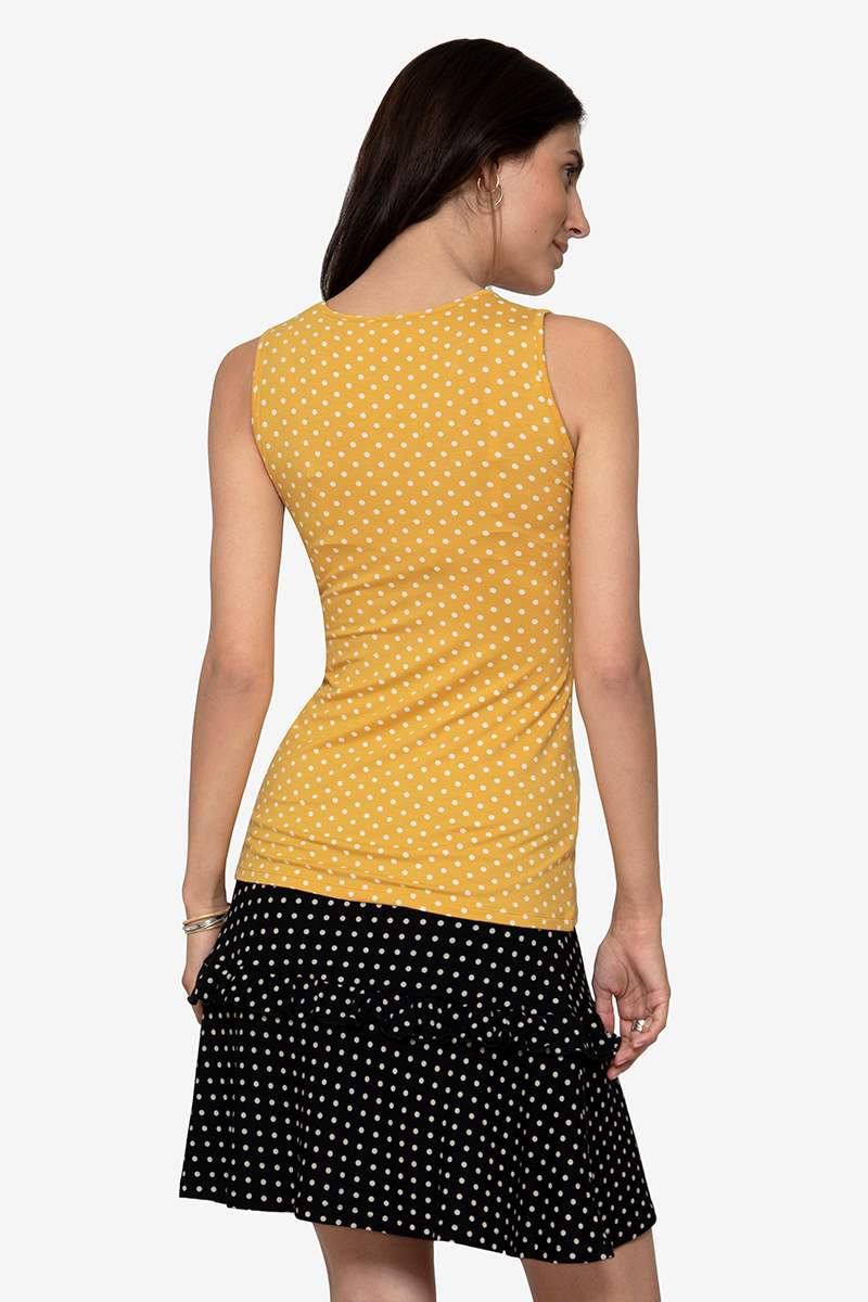 Yellow Nursing top with white polkadots - Organic Bamboo - Organic Bamboo - seen from behind