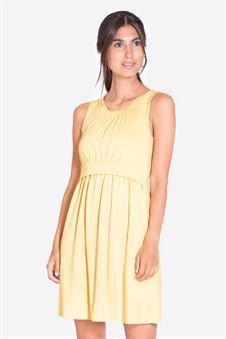 Yellow nursing dress without sleeves made of bamboo