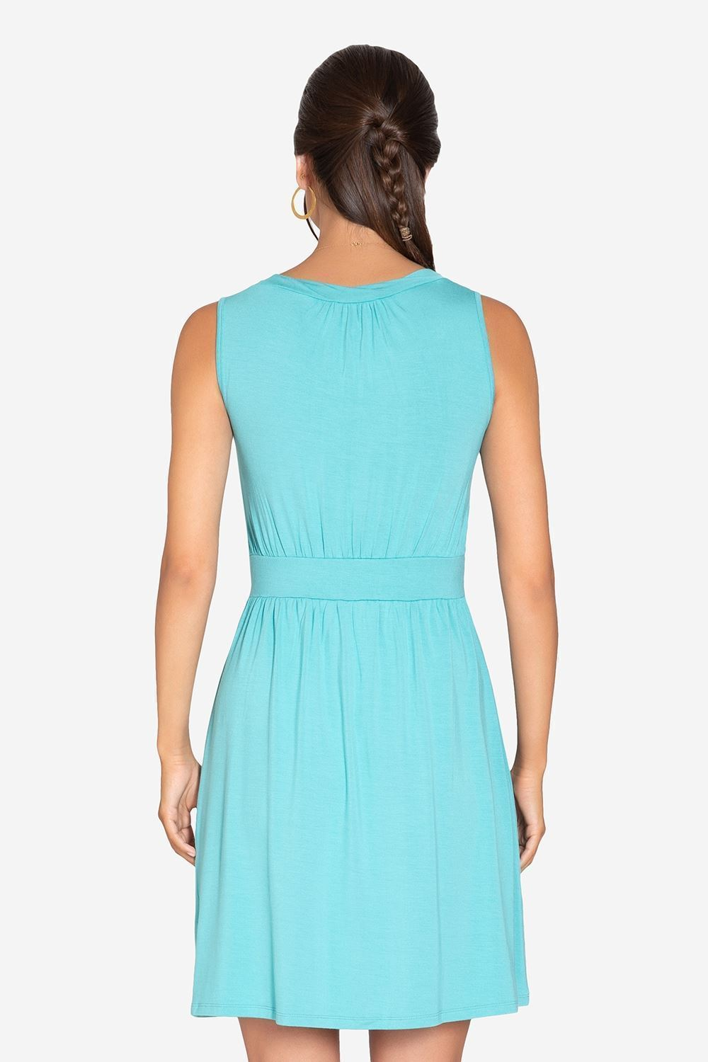 Turquoise Green sleeveless nursing dress – knee-length in bamboo fibers - seen from behind