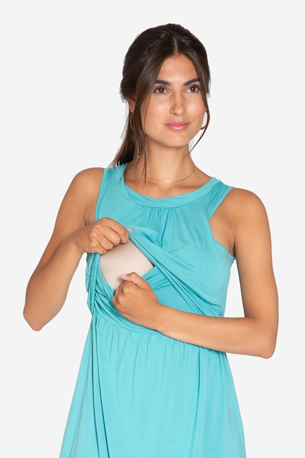 Turquoise Green sleeveless nursing dress – knee-length in bamboo fibers - access for nursing
