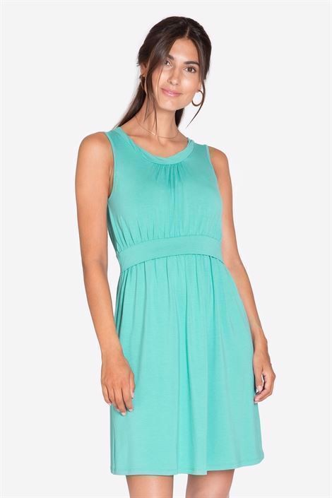 Turquoise Green sleeveless nursing dress – knee-length in bamboo fibers - front view
