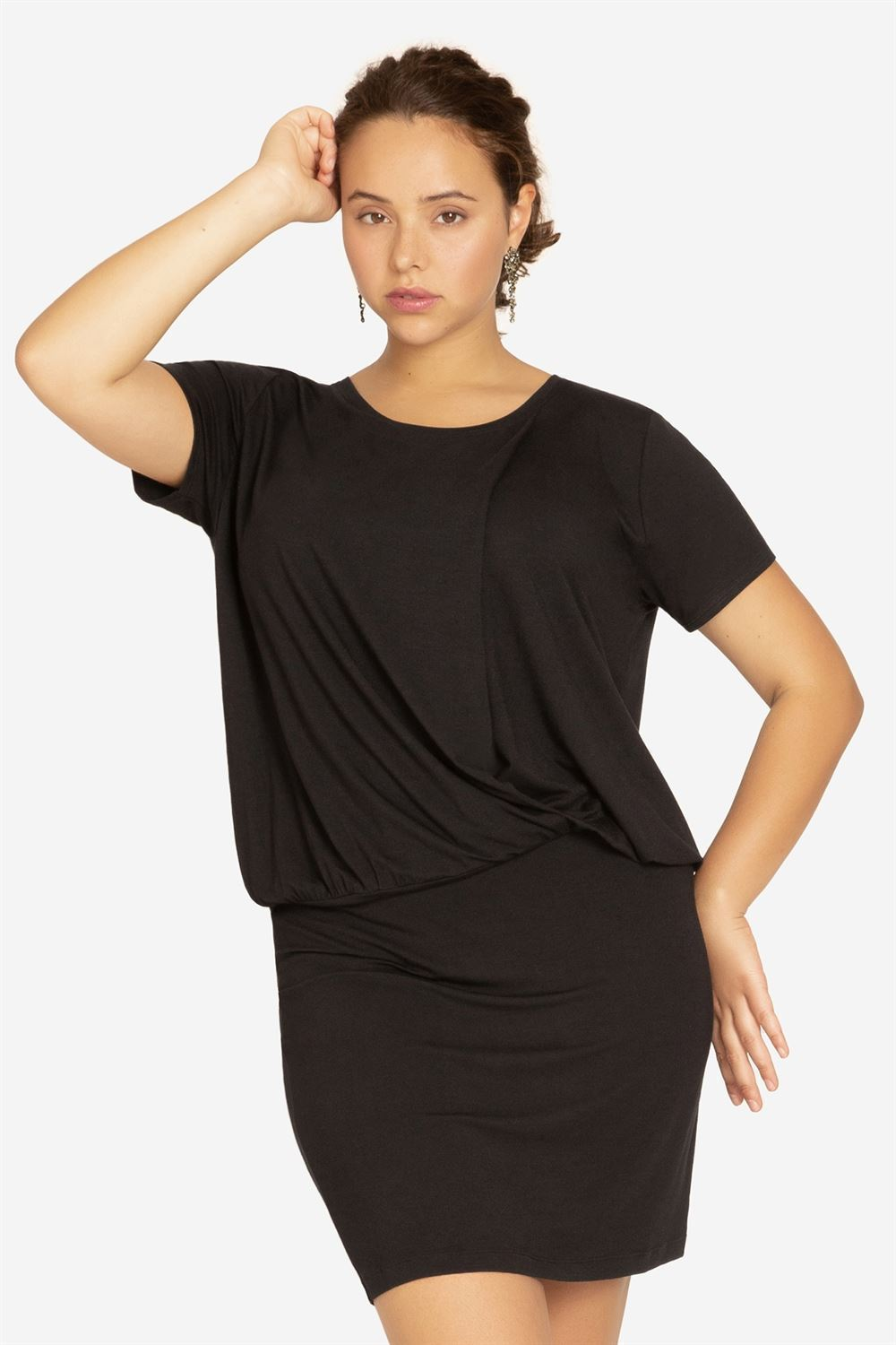 Black nursing dress with loose top and tight skirt - plus size