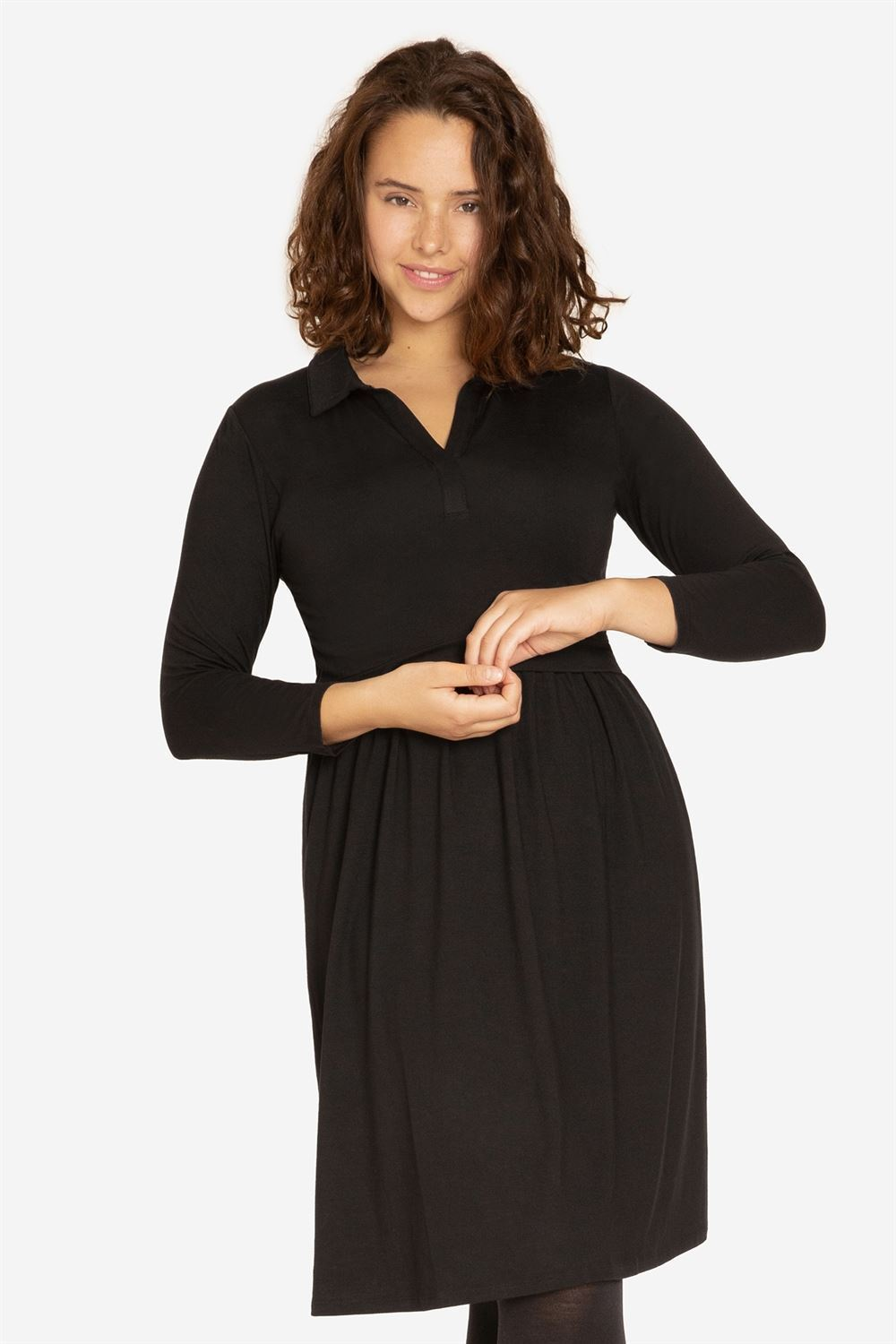 Black nursing dress with a stylish shirt-collar - Plus size model