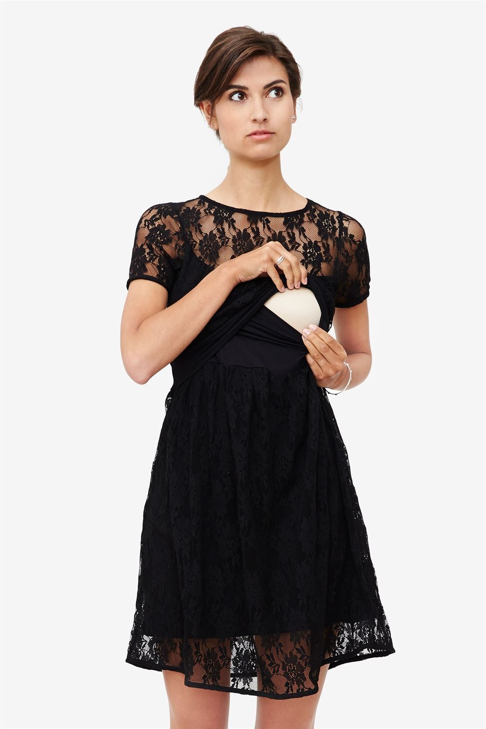 Black lace nursing dress with underdress - access for nursing
