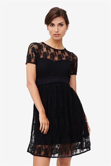 Black lace nursing dress with underdress - front view