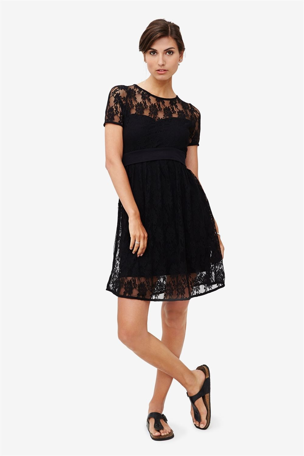 Black lace nursing dress with underdress - full figur