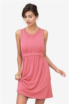Sleeveless coral nursing dress in bamboo fibres - front