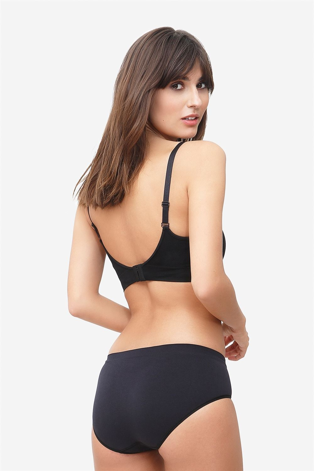 Black nursing bra with click opening in Organically grown bamboo  - Seen from behind