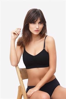 Black nursing bra with click opening in Organically grown bamboo  - Front view