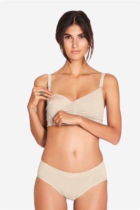 Nude Nursing Bra with click opening in Organically grown bamboo  - Access for breastfeeding
