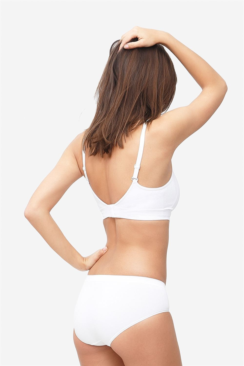 White nursing bra with click opening in bamboo fibers - Seen from behind