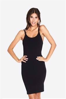 Long strap nursing dress in black - Front view