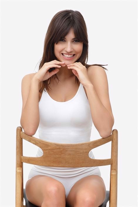 White nursing top with build-in bra made of bamboo fibers - Maternity