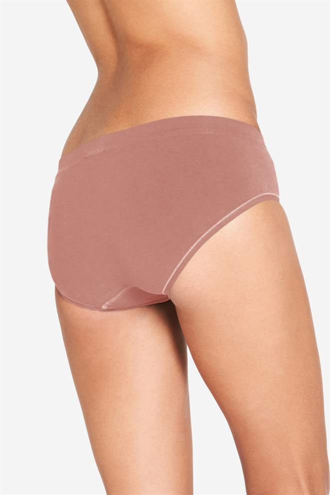 Brown/purple maternity panties in soft bamboo fibres - Organically grown - Seen from behind
