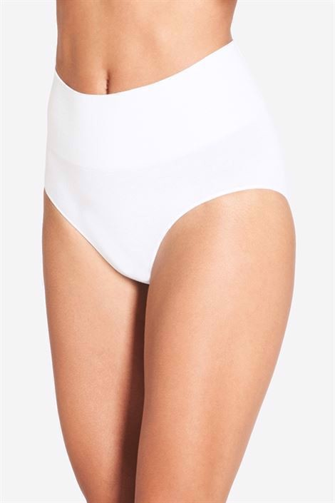 White maternity panties with a high rib - Front view