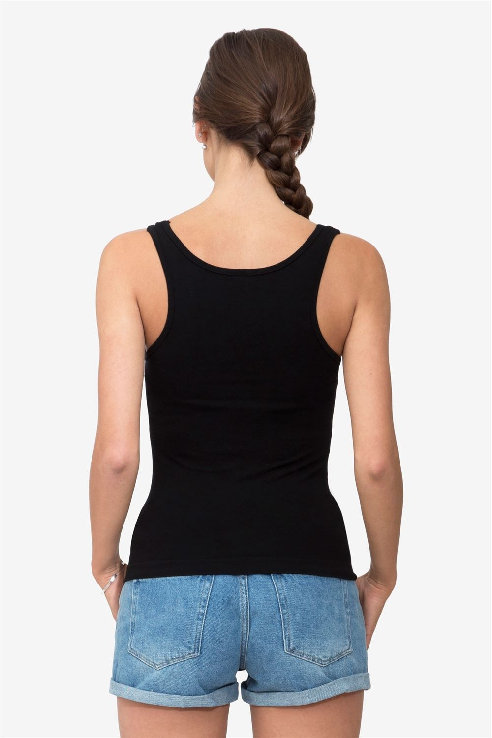 Black nursing tanktop  and top for breastfeeding - Organically grown - Seen from behind
