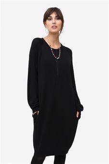 Black nursing dress with pockets and zipper nursing opening - Front