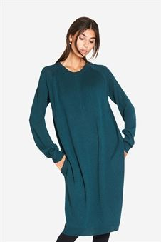 Green breastfeeding dress with pockets and zipper nursing opening