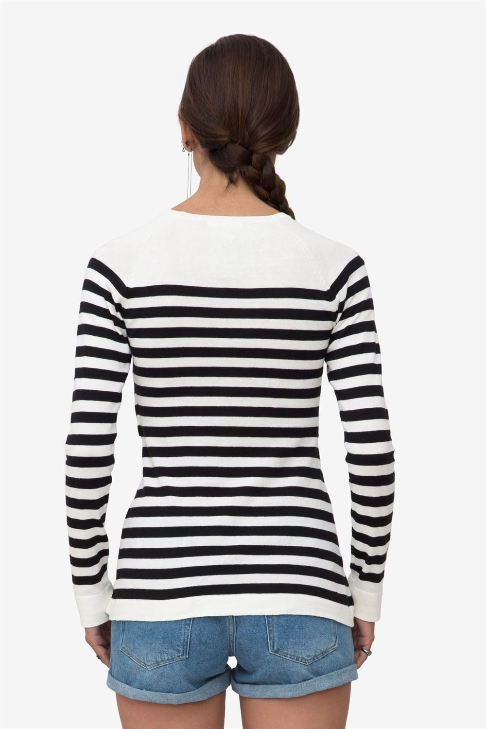 Black/white striped nursing shirt made in organic cotton knit - a shot from the back