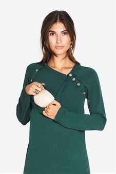 Green nursing dress knitted with wool/viscose