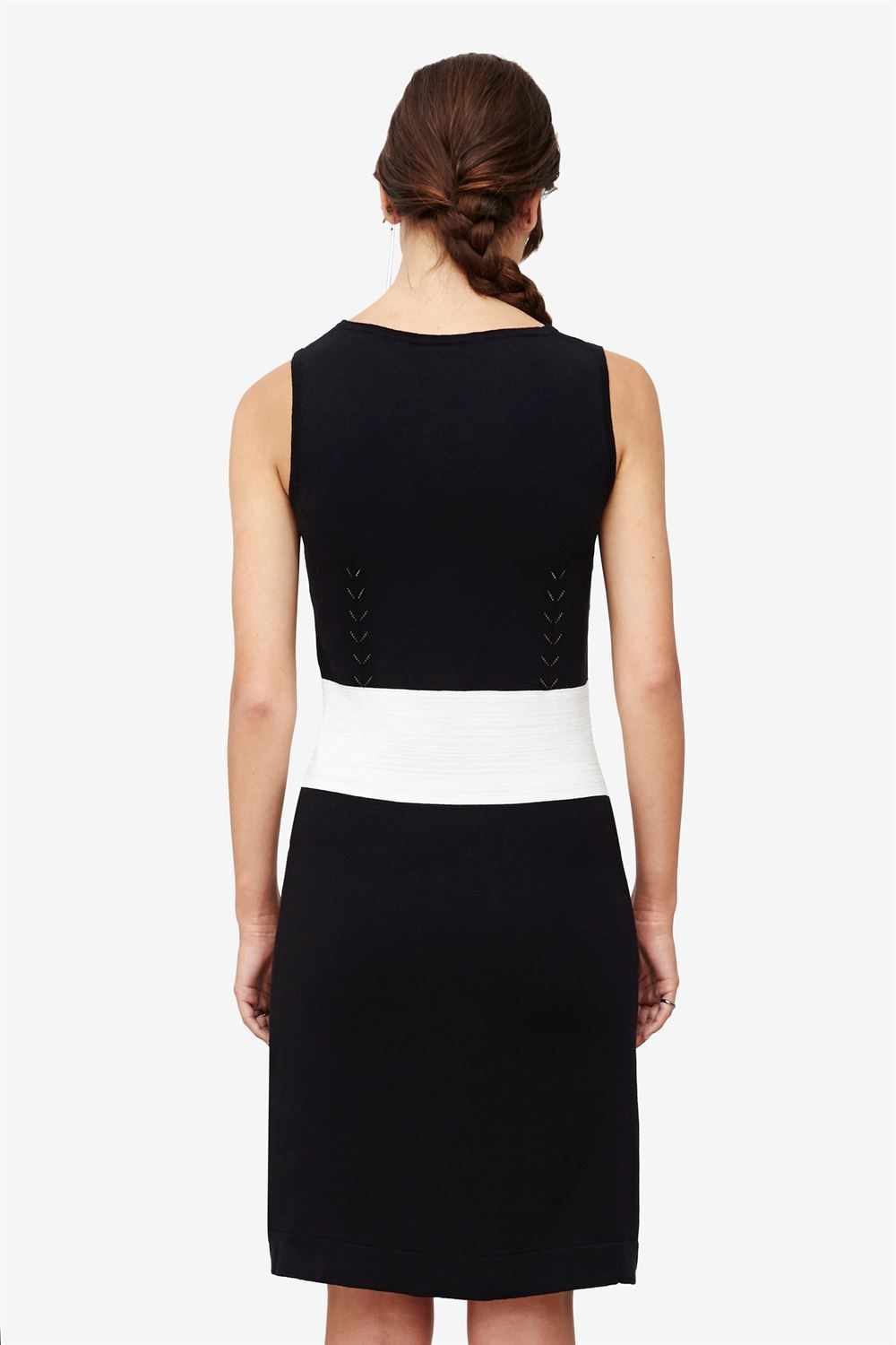 Black nursing dress with slim white waistline - rear view