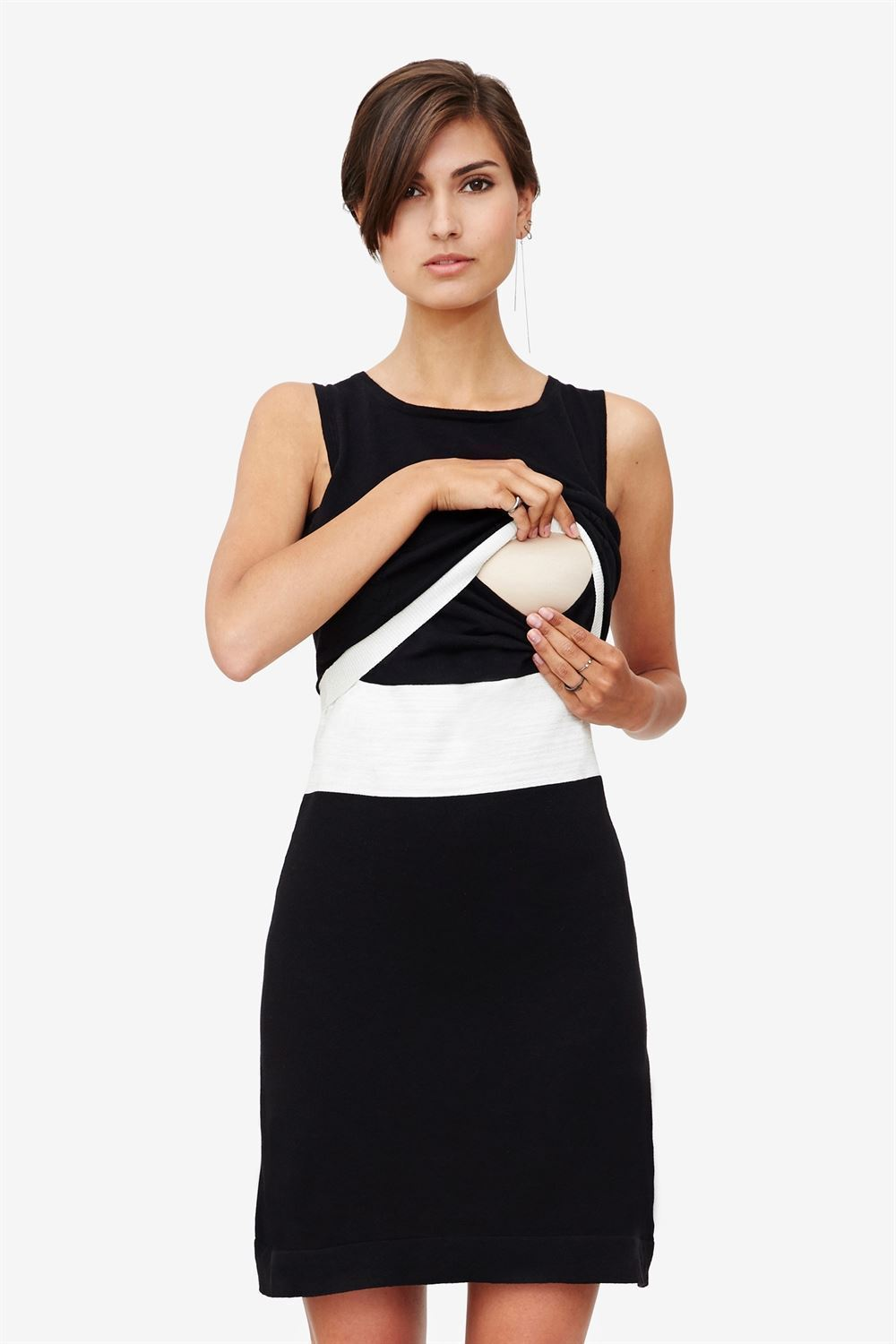 Black nursing dress with slim white waistline - nursing demonstation - with nursing access