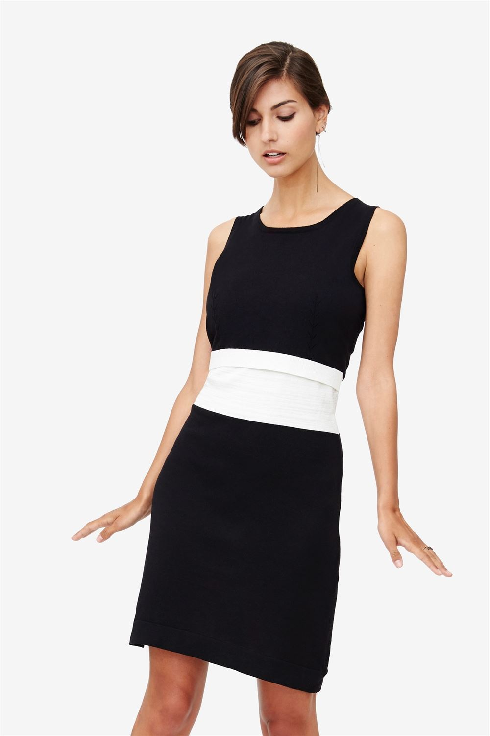 Black nursing dress with slim white waistline - a view from the front