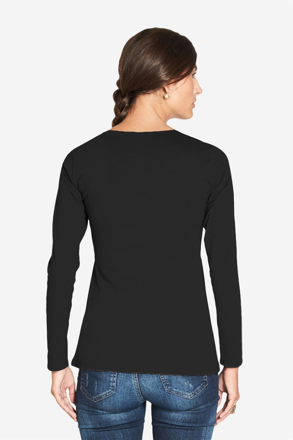 Black nursing shirt with long sleeved wrap look - Seen from behind
