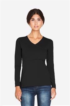 Black nursing shirt with long sleeved wrap look - Front view