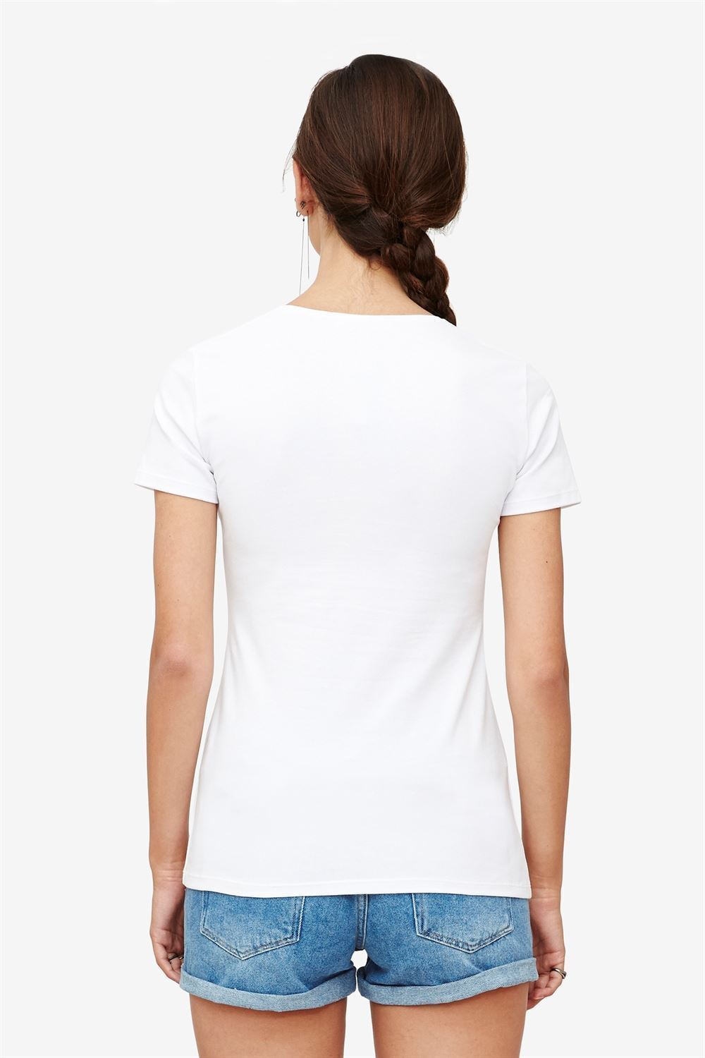 White nursing top with V-neck and wrap-around look in Organic cotton - seen from behind