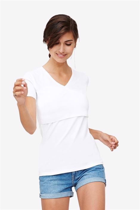 White nursing top with V-neck and wrap-around look in Organic cotton- in motion