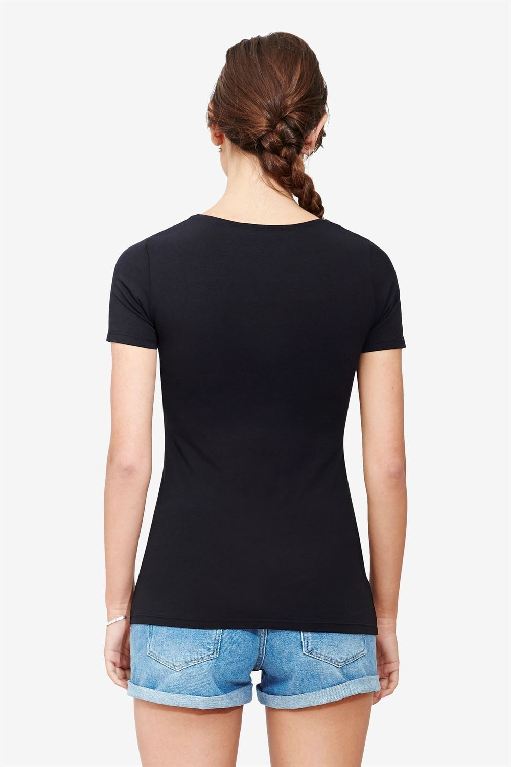 Short sleeved black Maternity & nursing Top made of organic cotton - Seen from behind