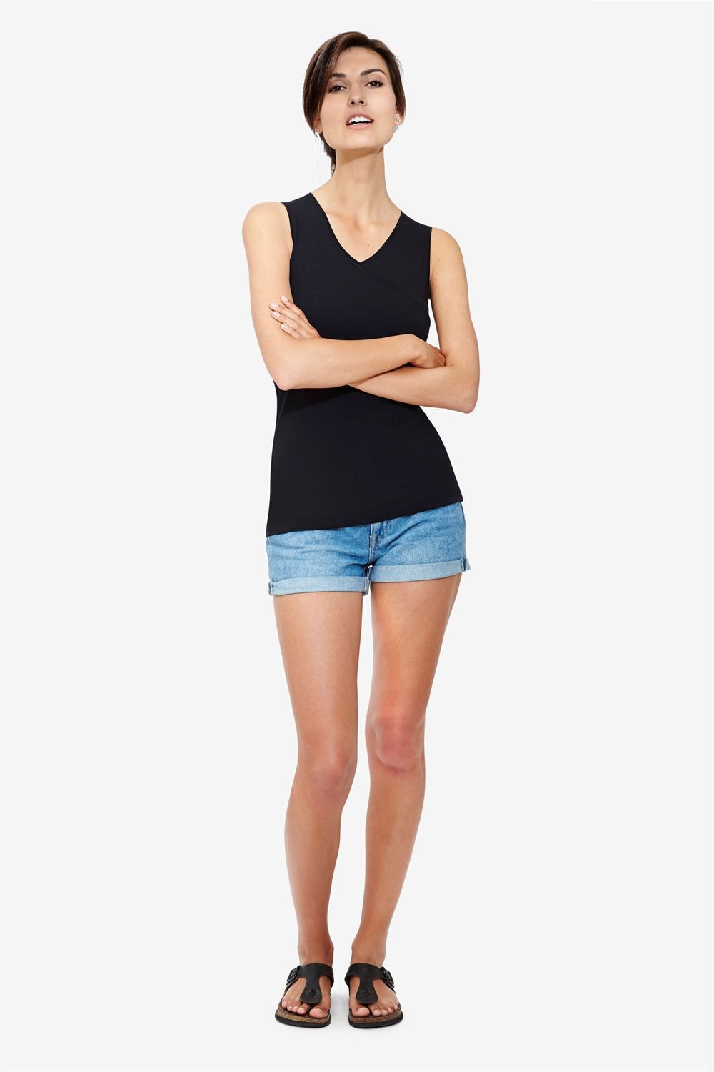 Black nursing top - classic and simple design in organic cotton - Full figur
