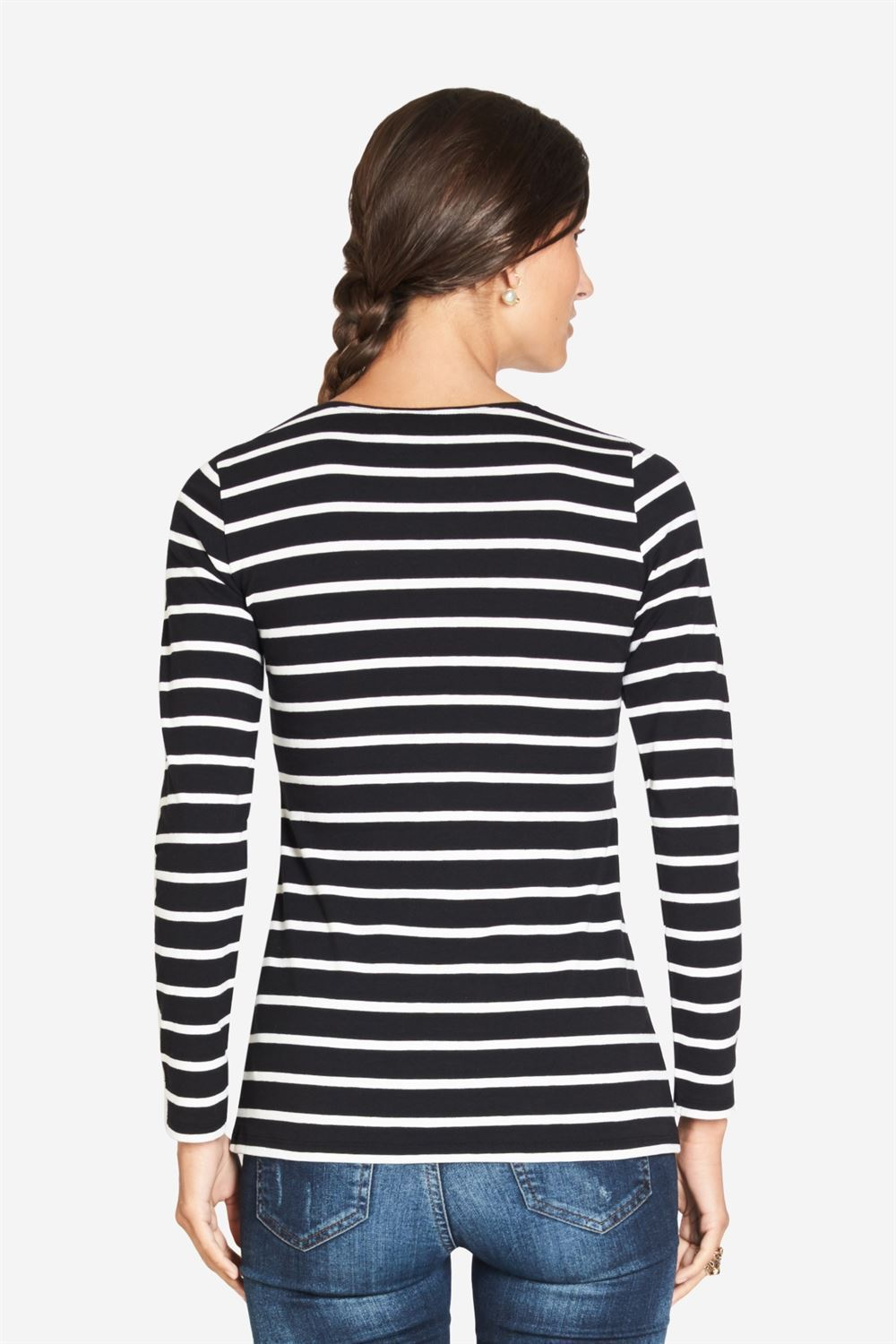 Black and white Striped maternity blouse - classic T-shirt model