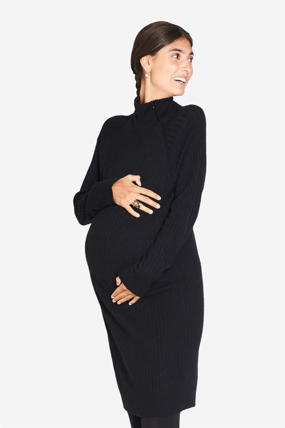 Black High-necked nursing dress in cable knit - maternity
