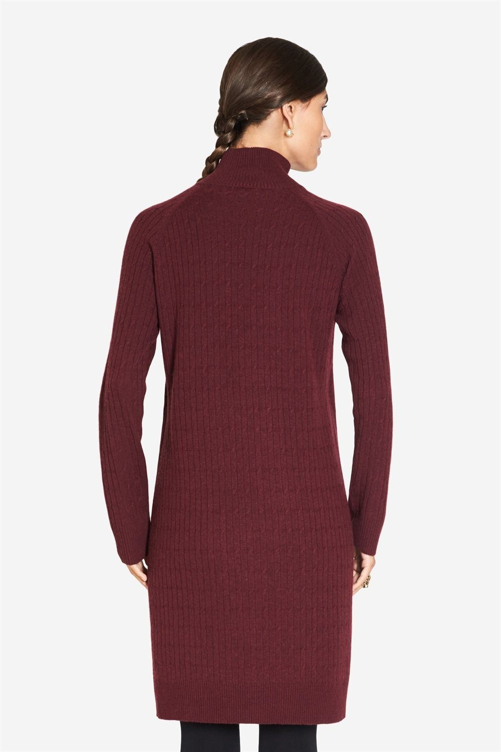 Burgundy nursing dress in wool and cable knit, back view
