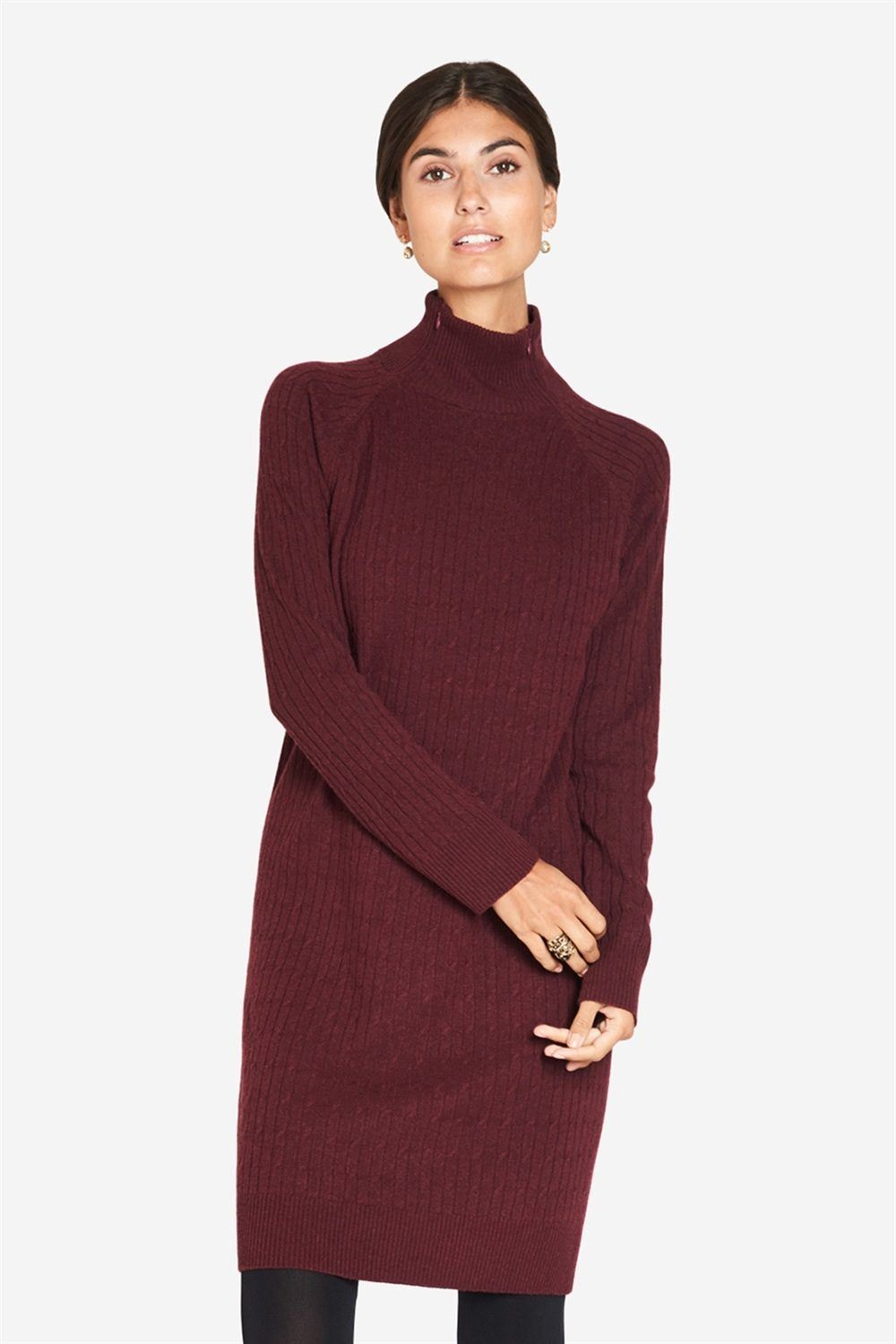 Burgundy nursing dress in wool and cable knit, front view