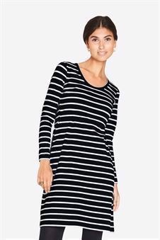 Black and white striped breastfeeding dress in organic cotton - Front view