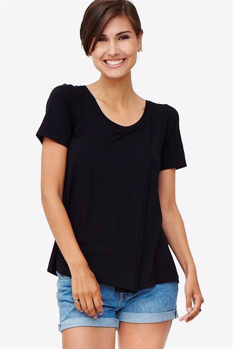 Black nursing top in large fit - front view
