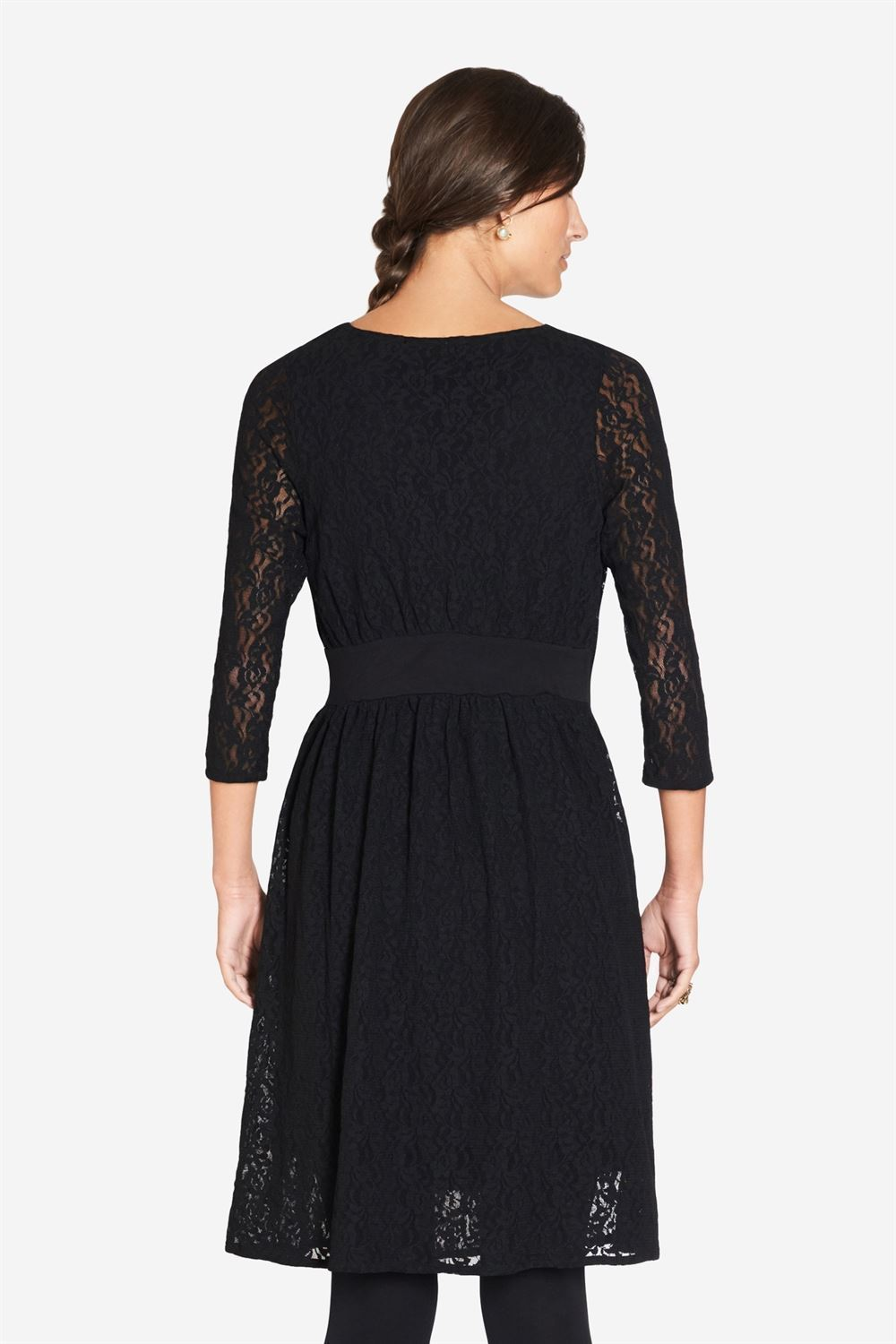 Black Lace nursing dress with Underdress - Seen from behind