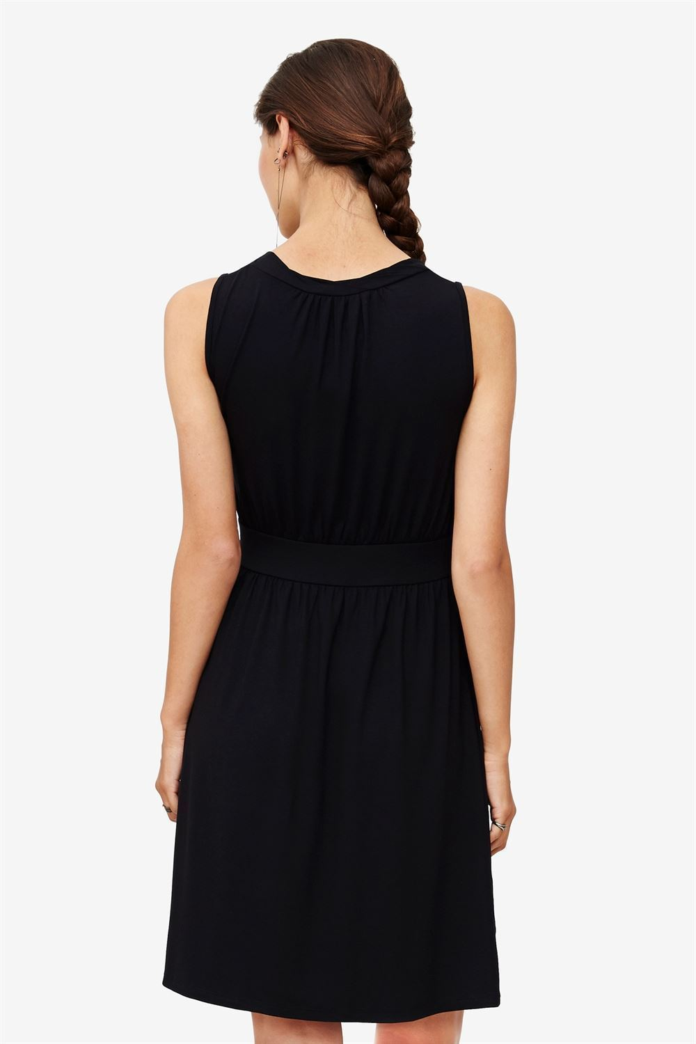 Black sleeveless nursing dress – knee-length in bamboo fibers - seen from behind