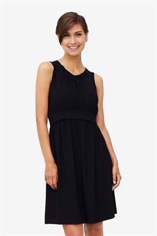 Black sleeveless nursing dress – knee-length in bamboo fibers - front view