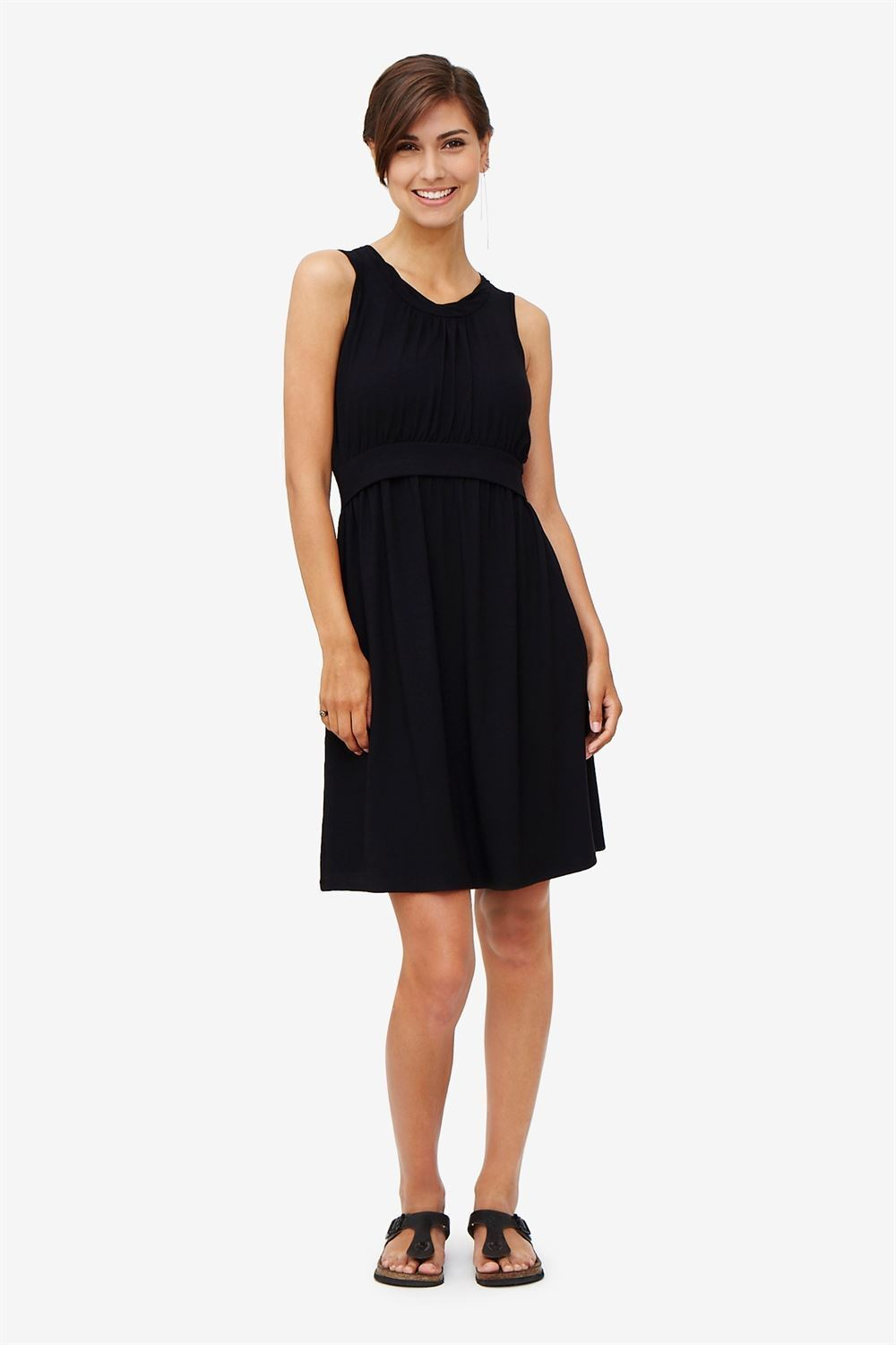 Black sleeveless nursing dress – knee-length in bamboo fibers - full figur