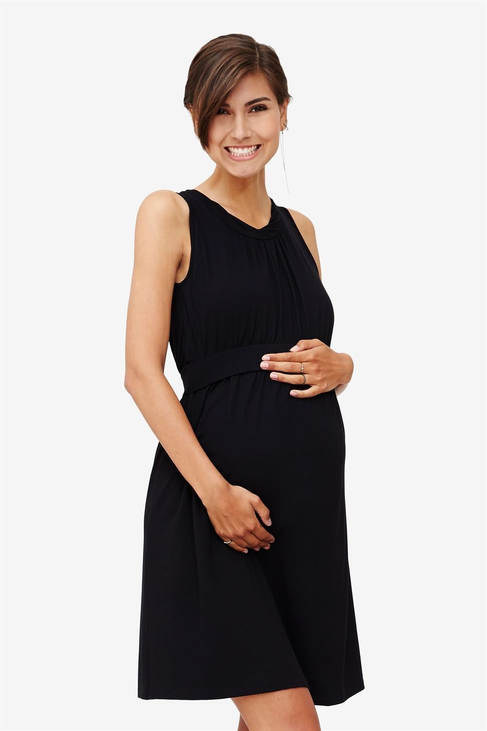 Black sleeveless nursing dress – knee-length in bamboo fibers - with baby bump