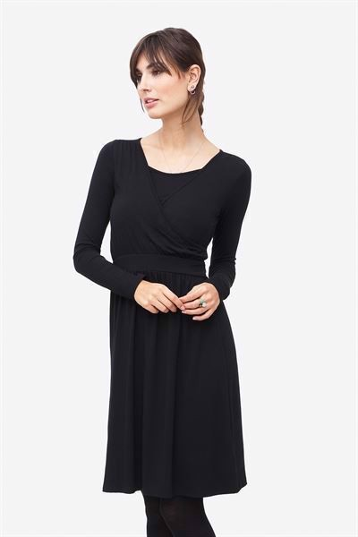 Black nursing dress with a wrap look in soft bamboo fibres